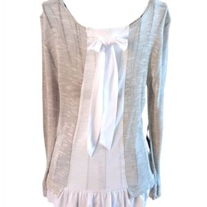Cooper key gray&white top thin with bow in…
